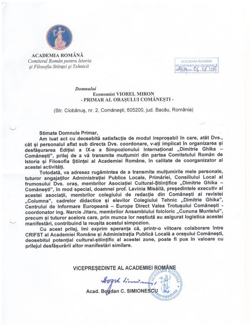 Primarul Viorel Miron felicitat de Academia Română!