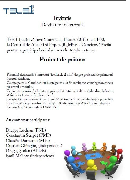 Dezbatere electorală organizată de TELE 1 Bacău